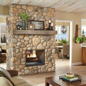 River Rock - Rio Grande - fireplace