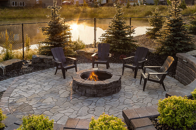mesa flagstone patio with firepit